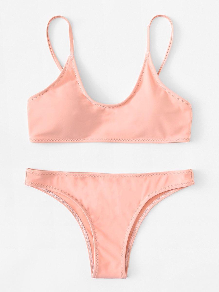 5a05b3c682 Plain Bikini Set -SheIn(Sheinside)