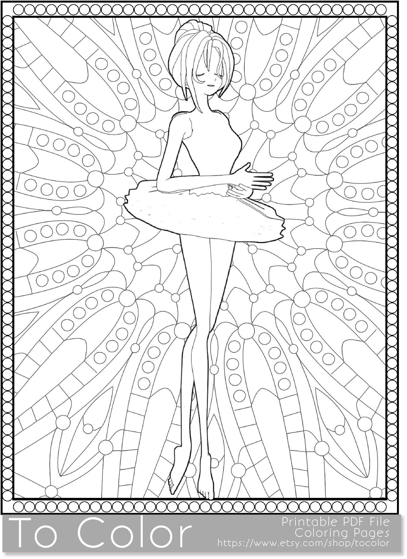 Ballet dancer and patterned background coloring page for instant