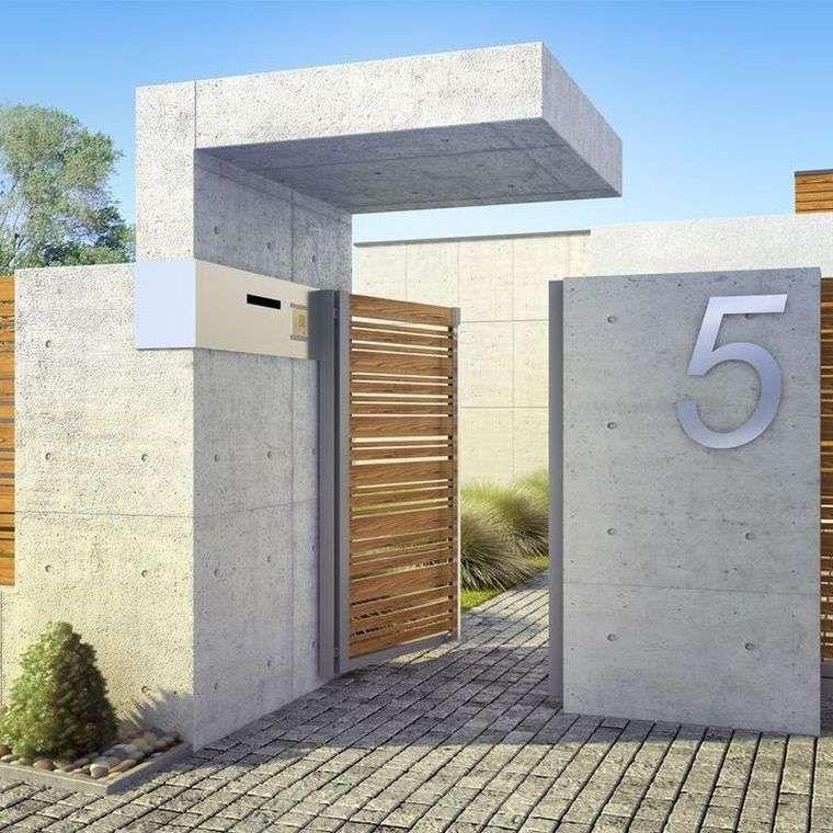 mur de clôture moderne-jardin-bois-beton | exterieur/ jardin ...