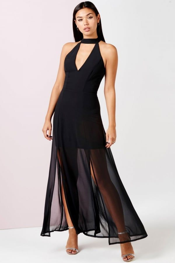 c6bcb0ae7c0 Girls on Film Black Keyhole Maxi Dress With Slits - Girls On Film from Little  Mistress UK