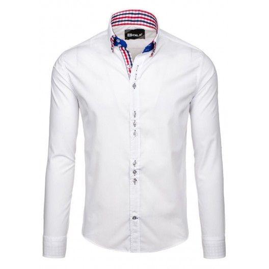 Bílé elegantní pánské košile s dlouhým rukávem - manozo.cz  cd2b916245