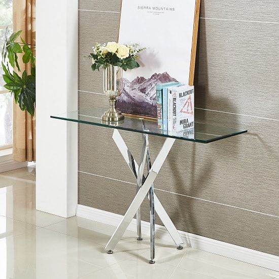 Daytona Glass Console Table Rectangular In Clear With Chrome Legs