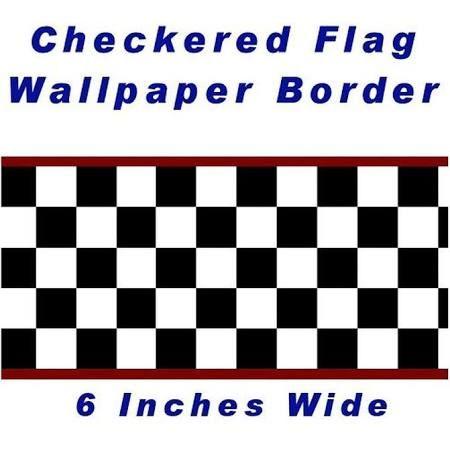 red stripe Checkered Flag Cars Nascar Wallpaper Border6
