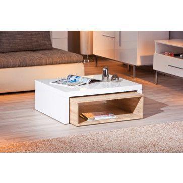 Table Basse Gigogne Rectangulaire Bois Et Blanc Laque Table Basse Blanche Et Bois Table Basse Design Table Basse