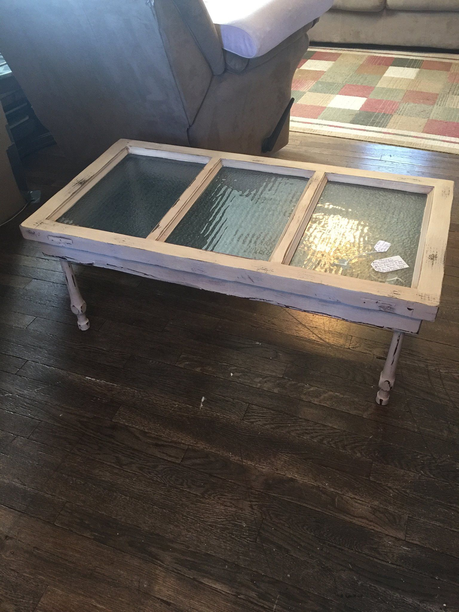 1922 School House window transom coffee table Painted and