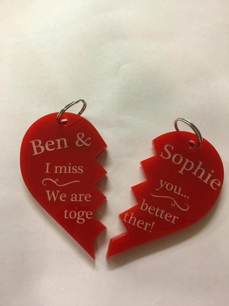 Personalised Customised keyring matching hearts. His and hers. Pick ...