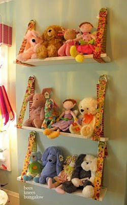 Stuffed animal shelves - Get Organized in 2013 - Kids Bedroom and Play Room Organization Tips and Ideas  (photo from BHG.com) - use heavy duty rope and larger boards with a cut out for rope so board is flush with wall