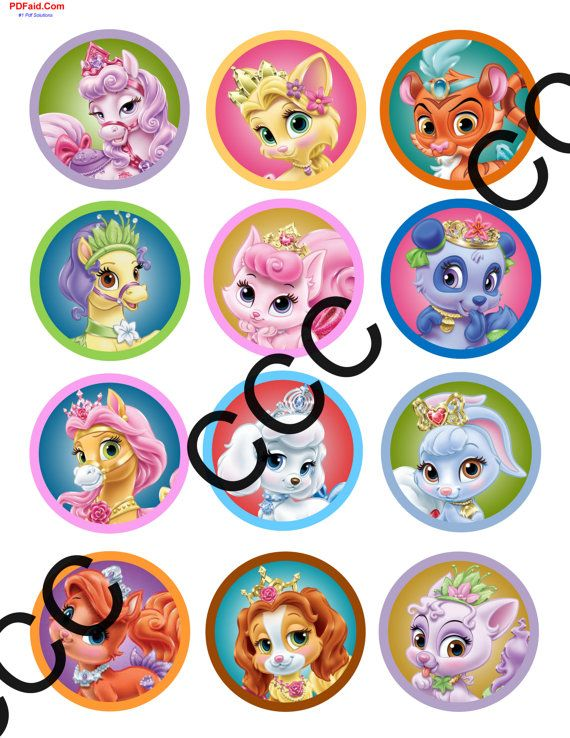 Palace Pets Cupcake Toppers Happy Birthday Party Tag Gift Tag Extra Large Confetti Table Decoration Small Banner Palace Pets Birthday Pet Tags Palace Pets