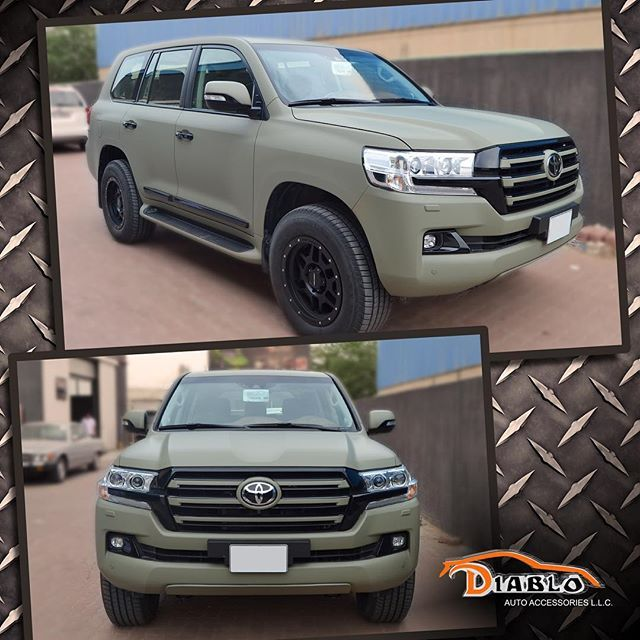 Mulpix Toyota Land Cruiser Completely Wrapped Khaki Green Matte And All Chrome Parts Are Foiled In Black Gloss By Di Land Cruiser Toyota Land Cruiser Toyota