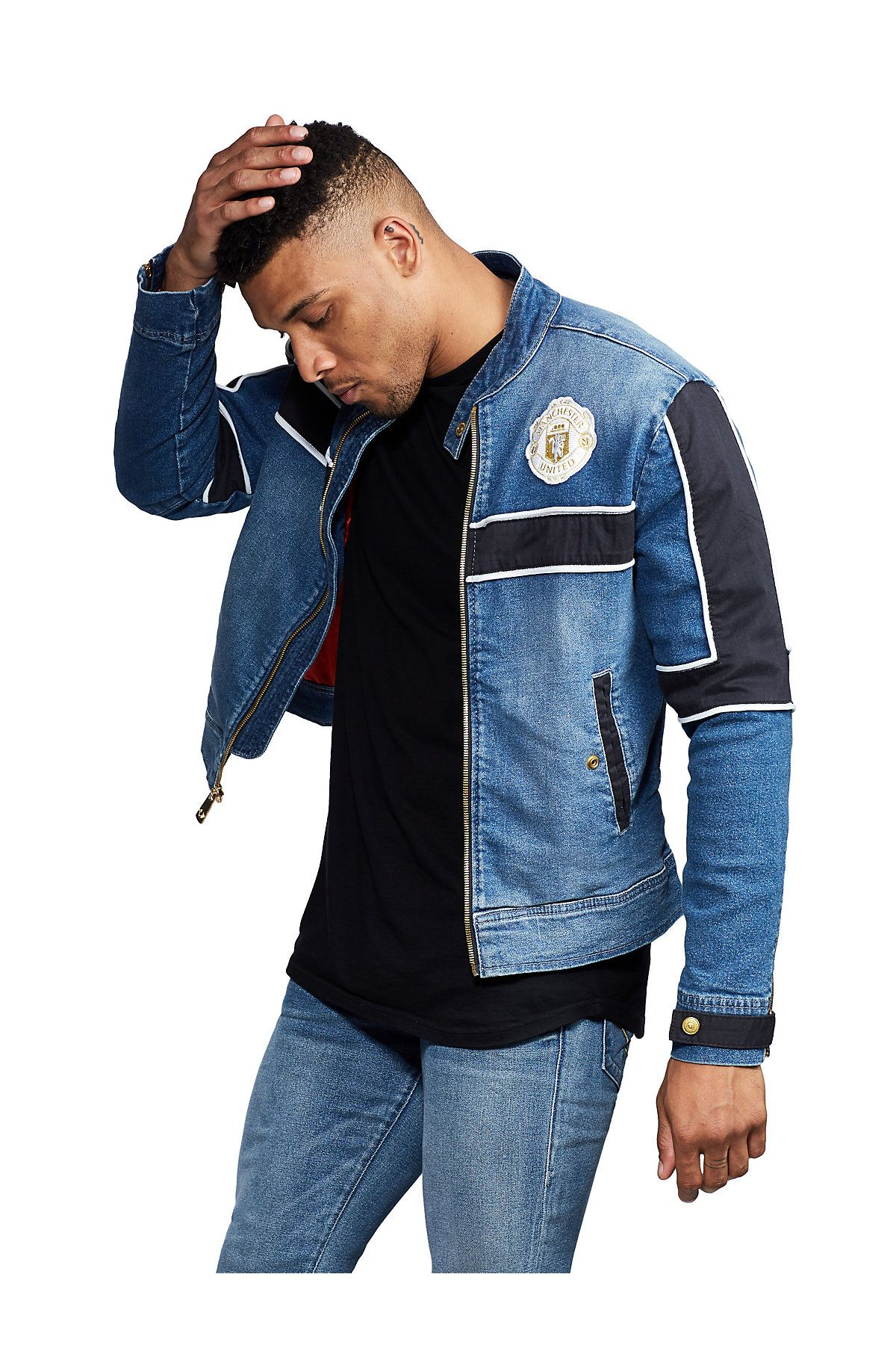 TR X MANCHESTER UNITED DENIM MOTO JACKET (With images
