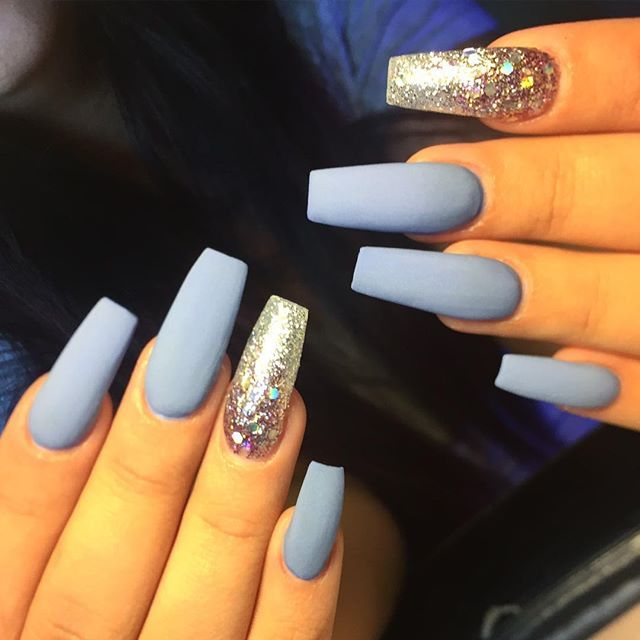 matte baby blue and silver nails