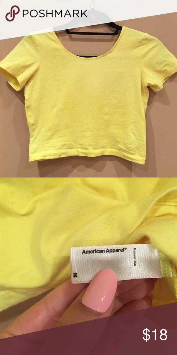07c85e62b64aa Cotton Spandex Jersey Crop Tee Perfect neon yellow crop top make me an  offer ✨ American Apparel Tops Crop Tops