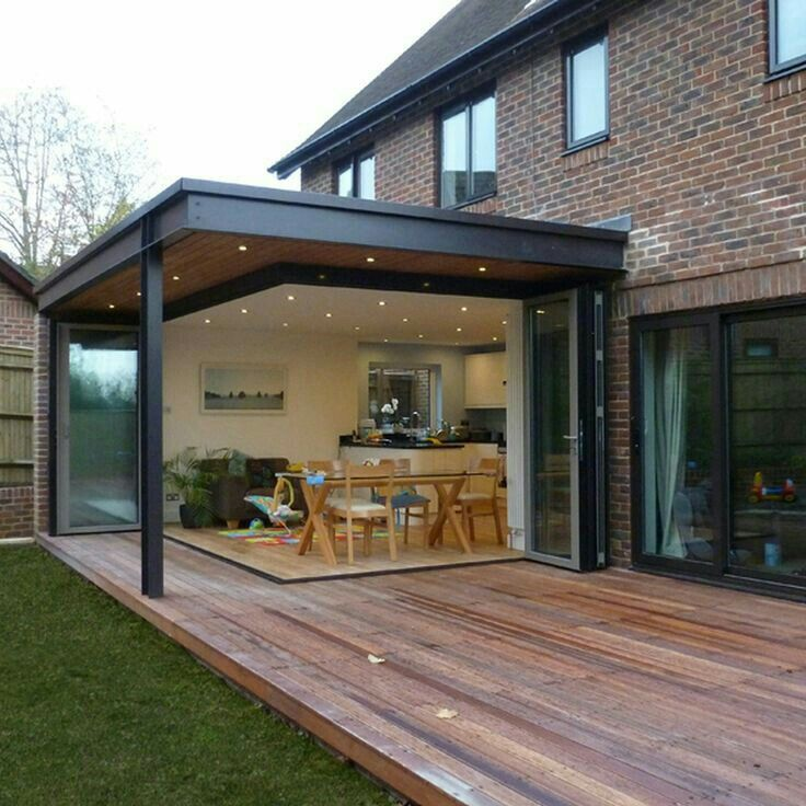 Love The Idea Of This Overhang But Without The Pillar On The Corner House Exterior House Extension Design House Extensions