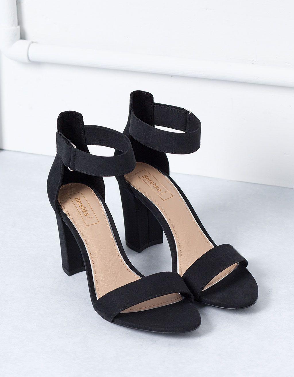 6561081a8b49 Sandały Bershka na obcasie z nadrukiem - Wszystko - Bershka Poland Black  Stiletto Heels