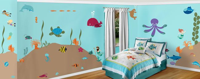 Under the Sea Theme - Ocean Wall Mural Stencil Kit | Forest friends ...