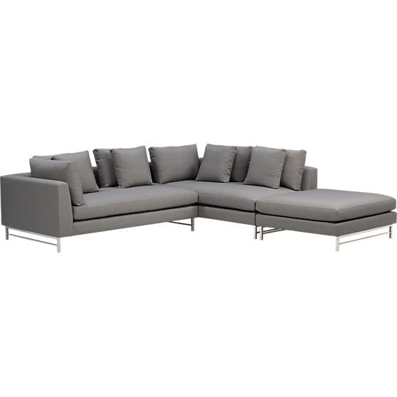 Uptown 3 Piece Left Arm Sectional Sofa In Sectional Sofas Crate And Barrel Sectional Sofa