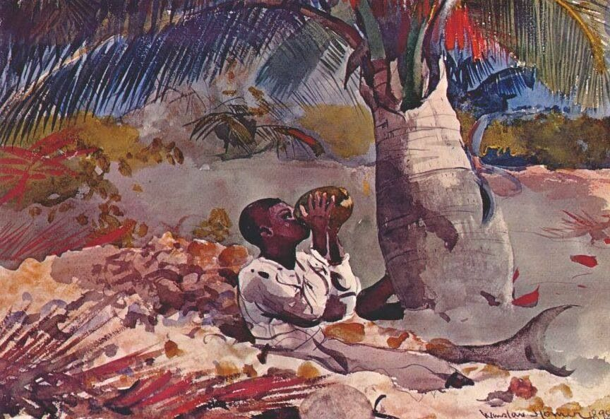 """Winslow Homer , """"under the coco palm"""", 1898."""