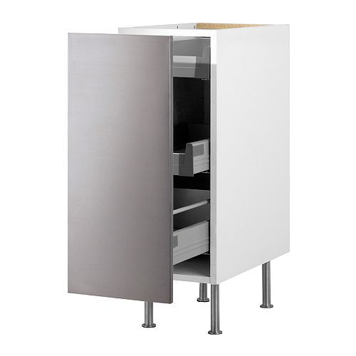 AKURUM Base Cabinet With Pull Out Storage   White, Rubrik Stainless Steel,  12   IKEA Has Built In Pull Out