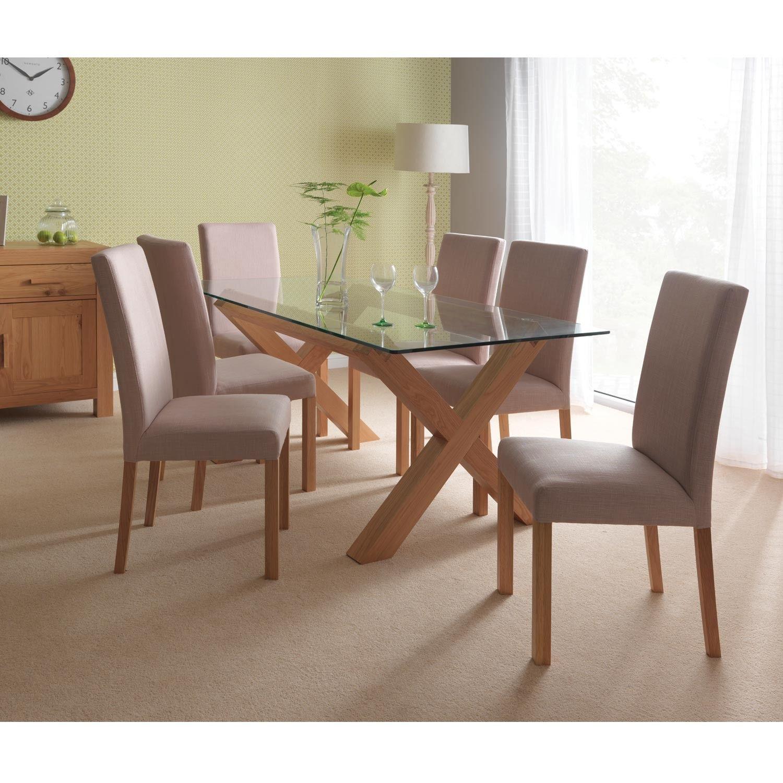 Casa Lyon Glass Table & 6 Chair Dining Set Oak  Dining Room Amazing Oak Dining Room Table And 6 Chairs Review