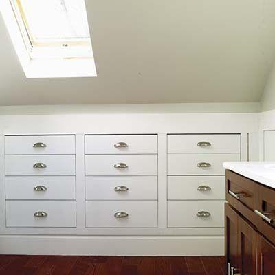 New Attic Bedroom Storage Knee Walls Slanted Ceiling 30 Ideas Built In Dresser Attic Master Bedroom Attic Remodel