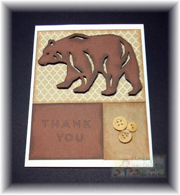 Crazy About Cricut Bear And Buttons Manly Thank You Card