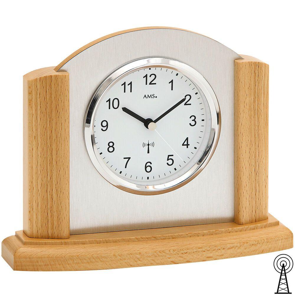 Ams 5123 18 Tischuhr Funk Funktischuhr Analog Modern Holz