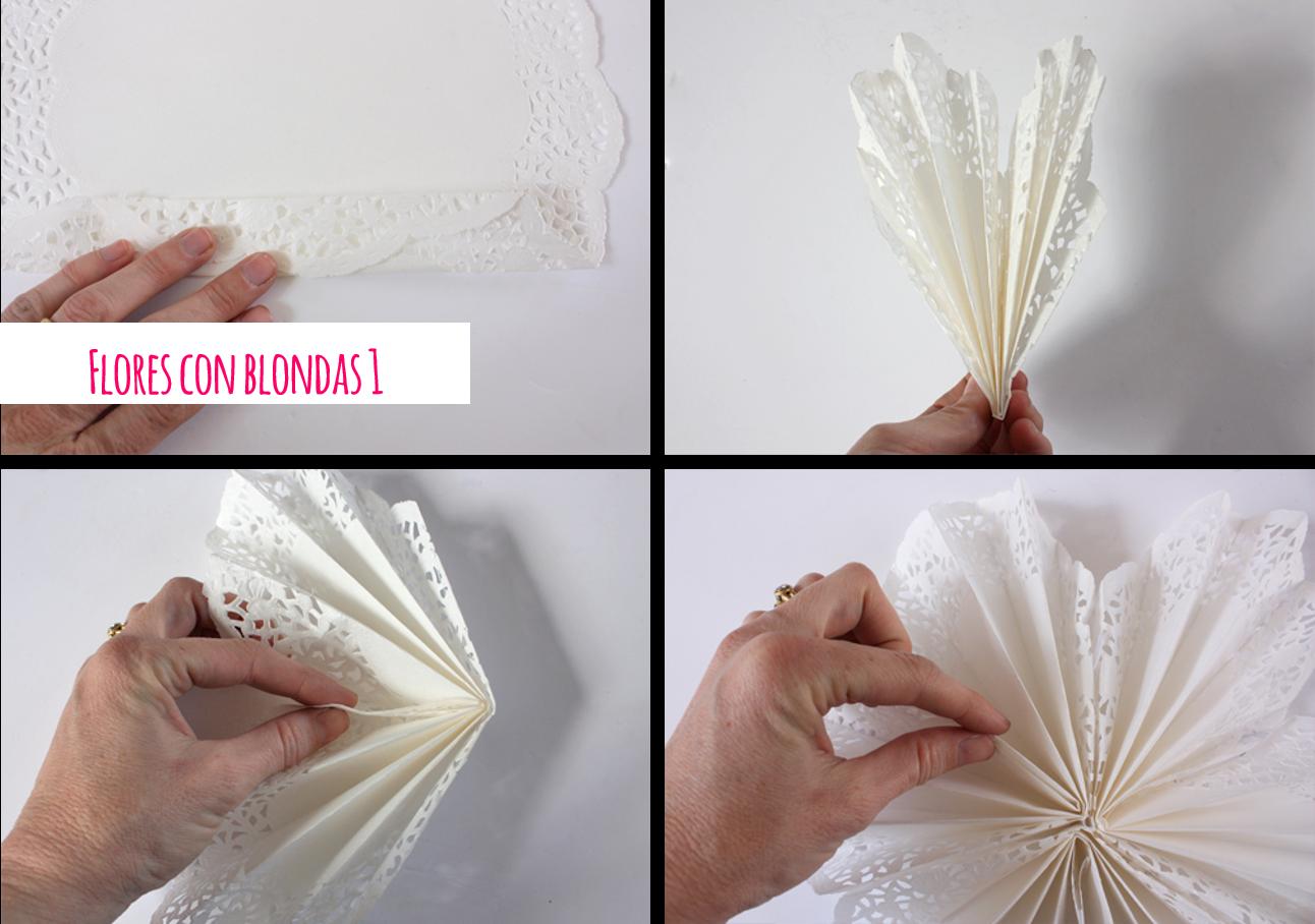 Diy flores con blondas de papel party pinterest - Blondas de papel ...