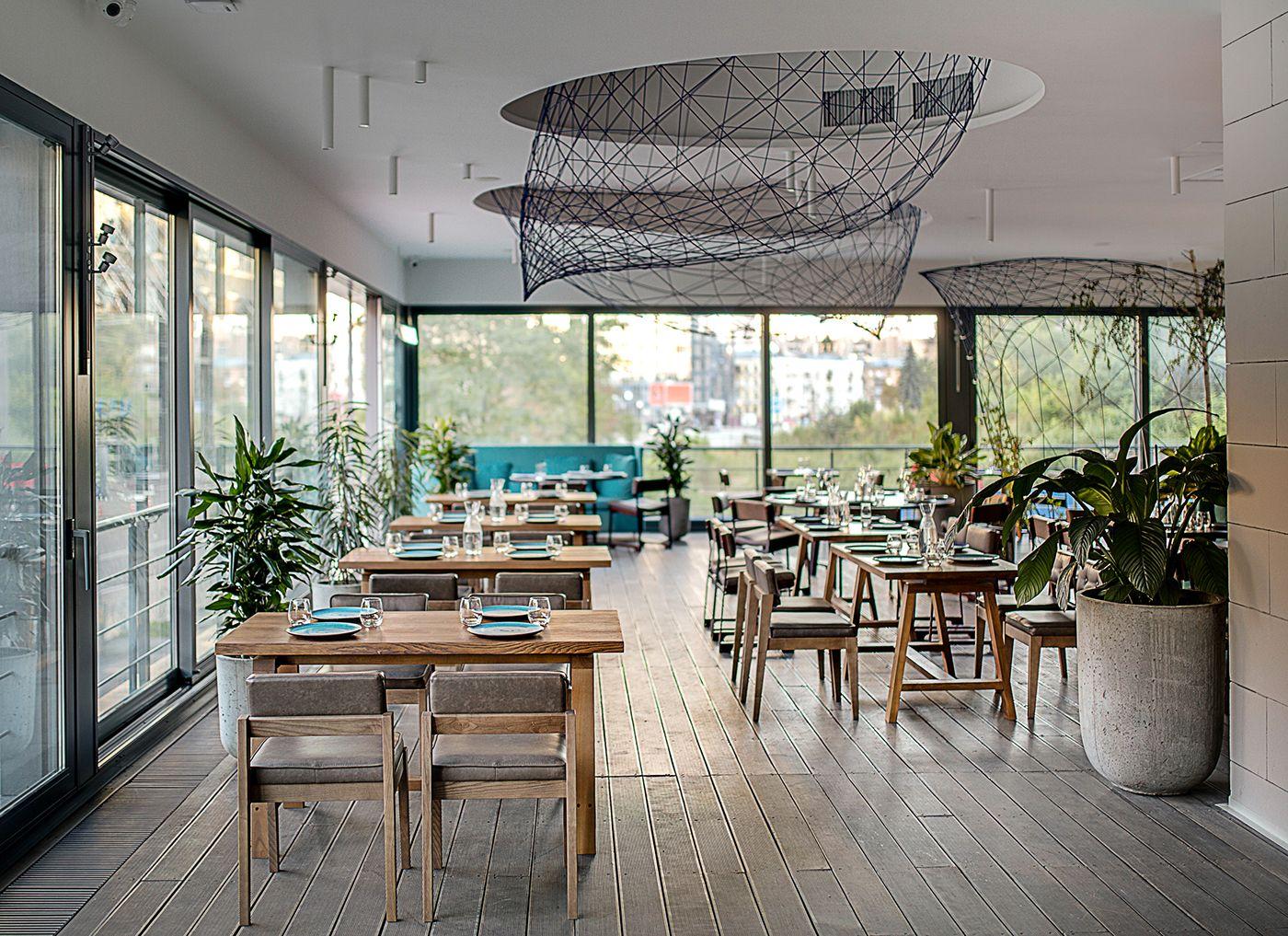 Restaurant interior design, Barvy restaurant, ceiling decor, birds ...
