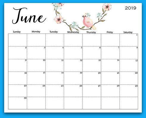 June 2019 Floral Printable Calendar 2019 Calendars Calendar June
