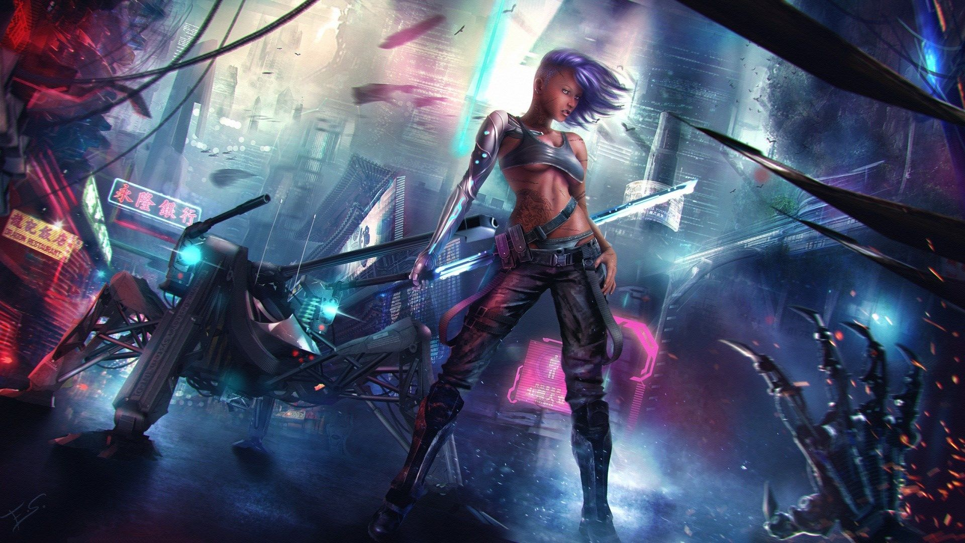 free download cyberpunk background Cyberpunk girl