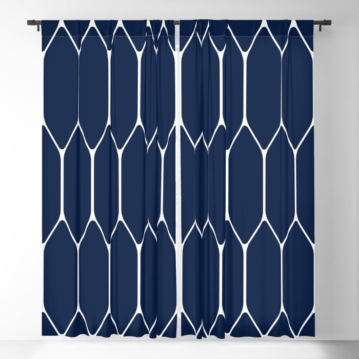 Long Honeycomb Geometric Minimalist Pattern In White And Nautical Navy Blue Blackout Curt In 2020 Blue Blackout Curtains Navy Blue Blackout Curtains Minimalist Pattern