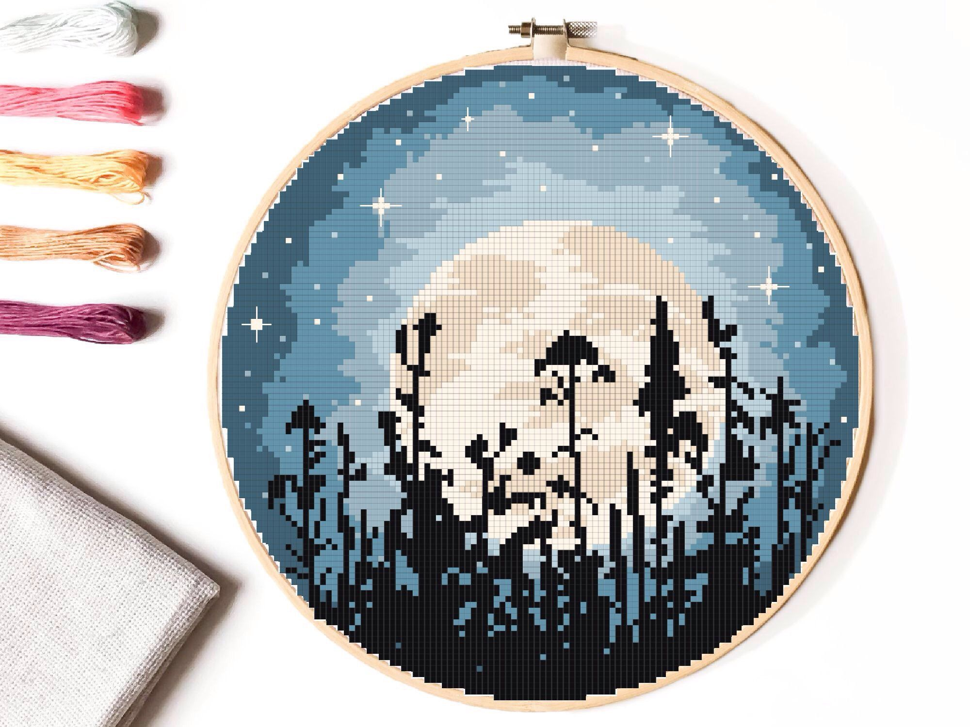 Photo of Landscape  Cross Stitch Pattern, nature counted cross stitch chart, moon, starry sky, round, embroidery, INSTANT DOWNLOAD PDF