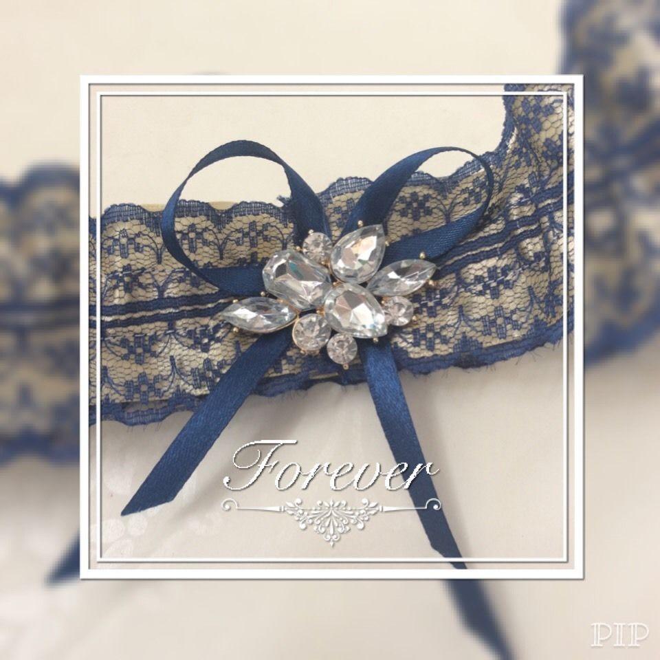 Blue Wedding Garter Uk: Gold Blue Rhinestone Wedding Garter Something Blue Made In