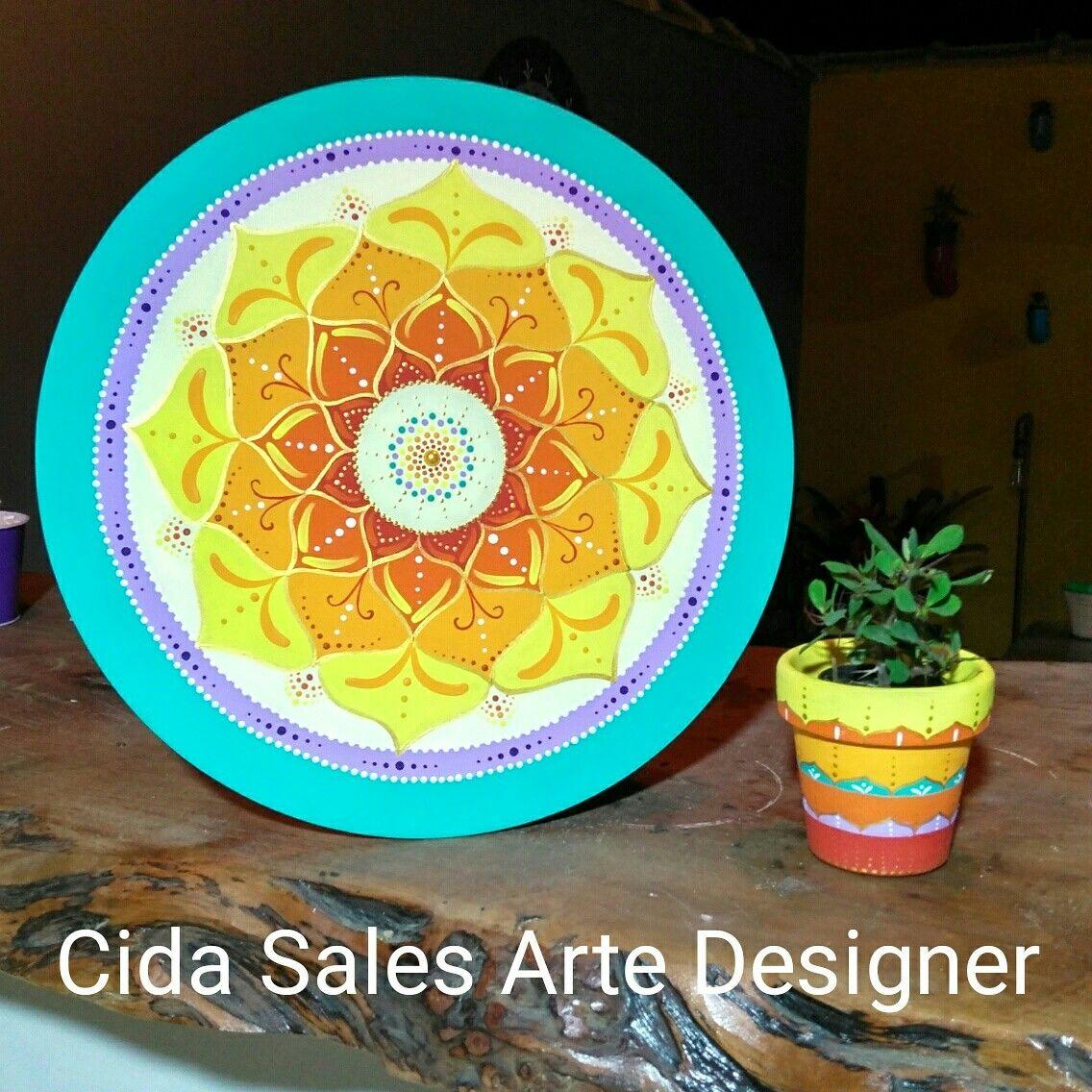 Mandala e vasinho by Cida Sales Arte Designer.