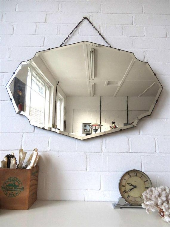 Vintage Large Bevelled Edge Wall Mirror Frameless Mirror Lovely Shape Wow Mirror Wall Mirror Wall Living Room Rustic Wall Mirrors