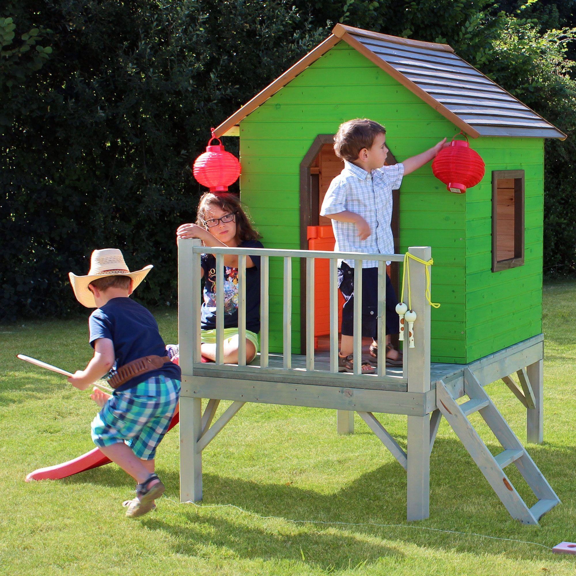 cabane maisonnette enfant sur pilotis toboggan en bois maxence soulet garden cabane. Black Bedroom Furniture Sets. Home Design Ideas