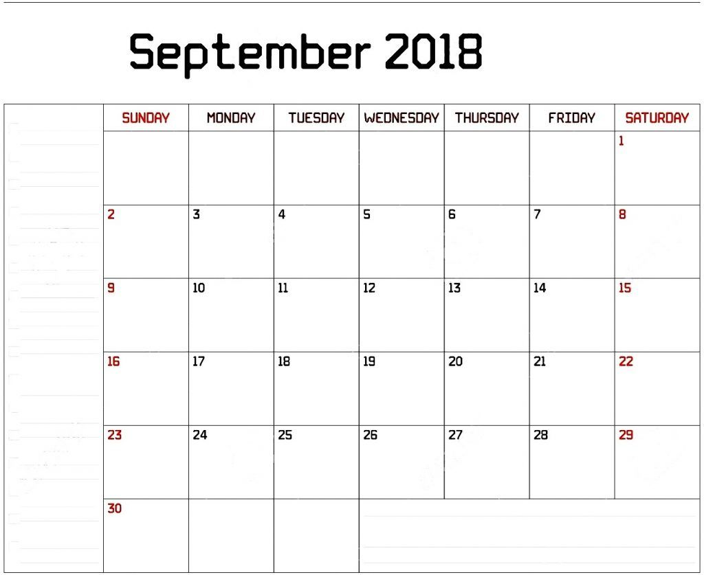 pocket calendar september 2018 template