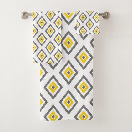 Yellow Gray White Diamond Geometric Bath Towel Set Patterns Pattern Special Unique Design Gift Idea Diy Towel Set Bath Towel Sets Modern Gift