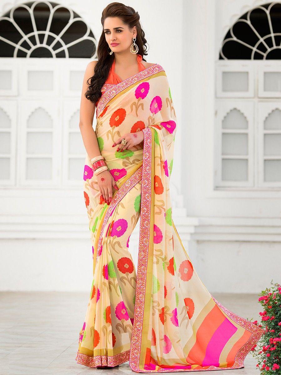 c65f511bc5c8e1 Floral Print Saree Blouse Designs