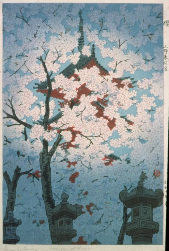 Cherry Blossoms at Toshogu Shrine, Ueno, Tokyo, by Kasamatsu Shirō, Spring 1935 -- See also at: http://www.hanga.com/viewimage.cfm?ID=2594