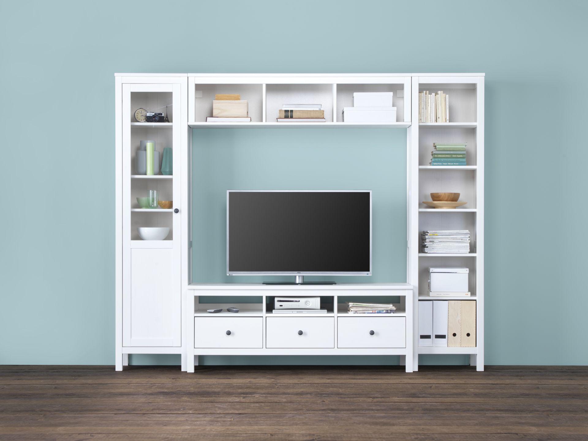 Ikea Boekenkast Tv Meubel.Hemnes Tv Meubel Wit Gebeitst 148x47x57 Cm Hemnes Glass