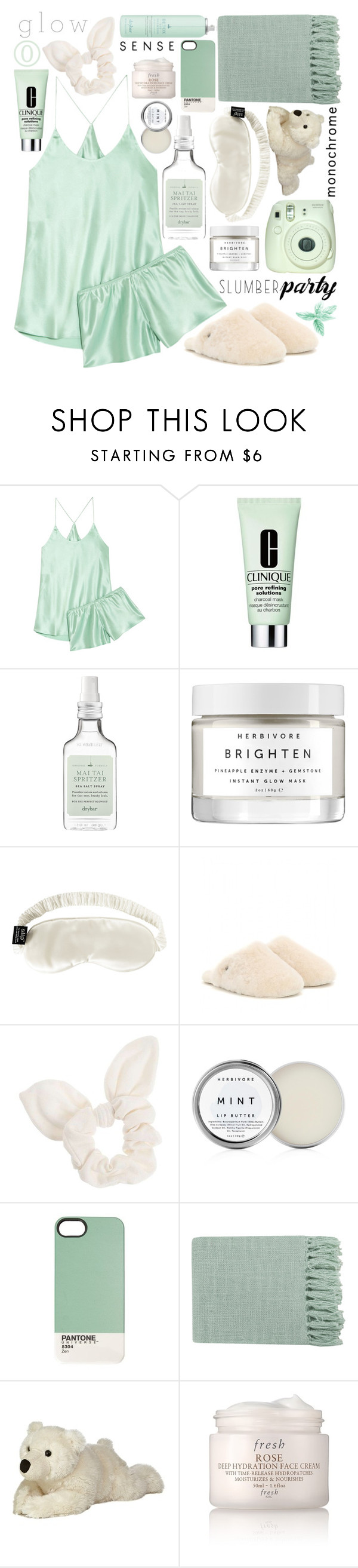 """Slumber Party: Contest Entry"" by isquaglia ❤ liked on Polyvore featuring Olivia von Halle, Clinique, Drybar, Herbivore, Slip, UGG Australia, Dorothy Perkins, Surya, Fresh and slumberparty"
