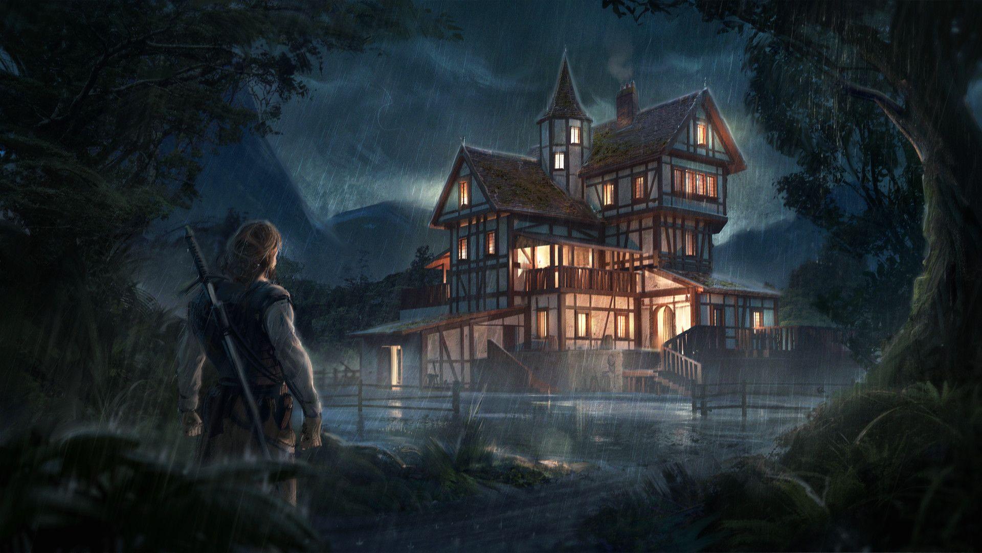 Artstation Tavern In The Forest Jonas Hassibi Anime Places Fantasy Inn Fantasy Landscape