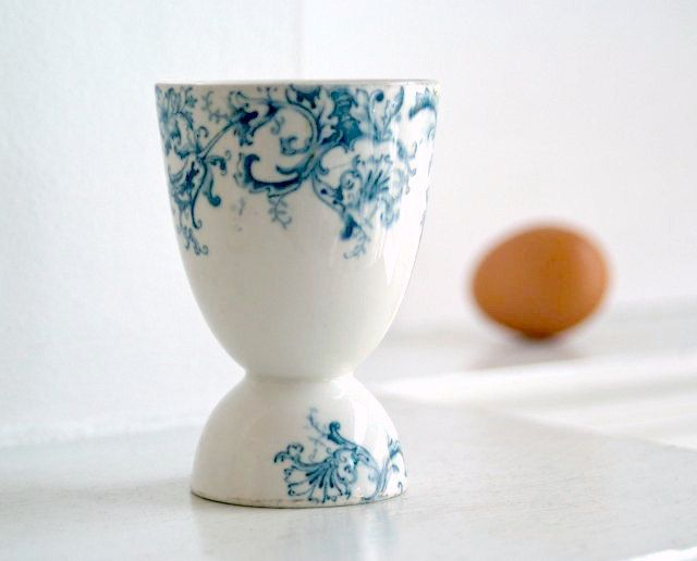 Antique Transferware Porcelain Egg Cup
