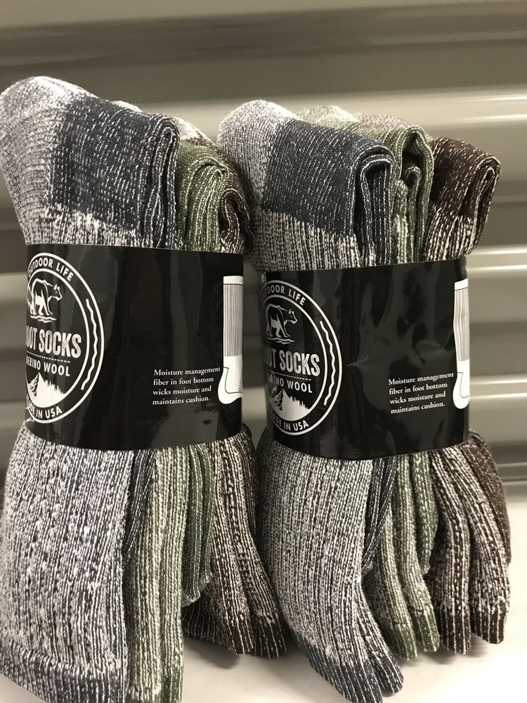 675ad0770123b 3 pair Men's Outdoor Life Merino Wool Thermal Boot Socks 10-13 - Made In *  USA   eBay