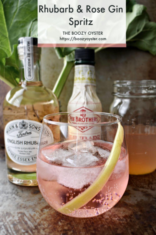 Rhubarb Rose Water Gin Spritz Recipe Gin Cocktail Recipes Gin Cocktails Rhubarb