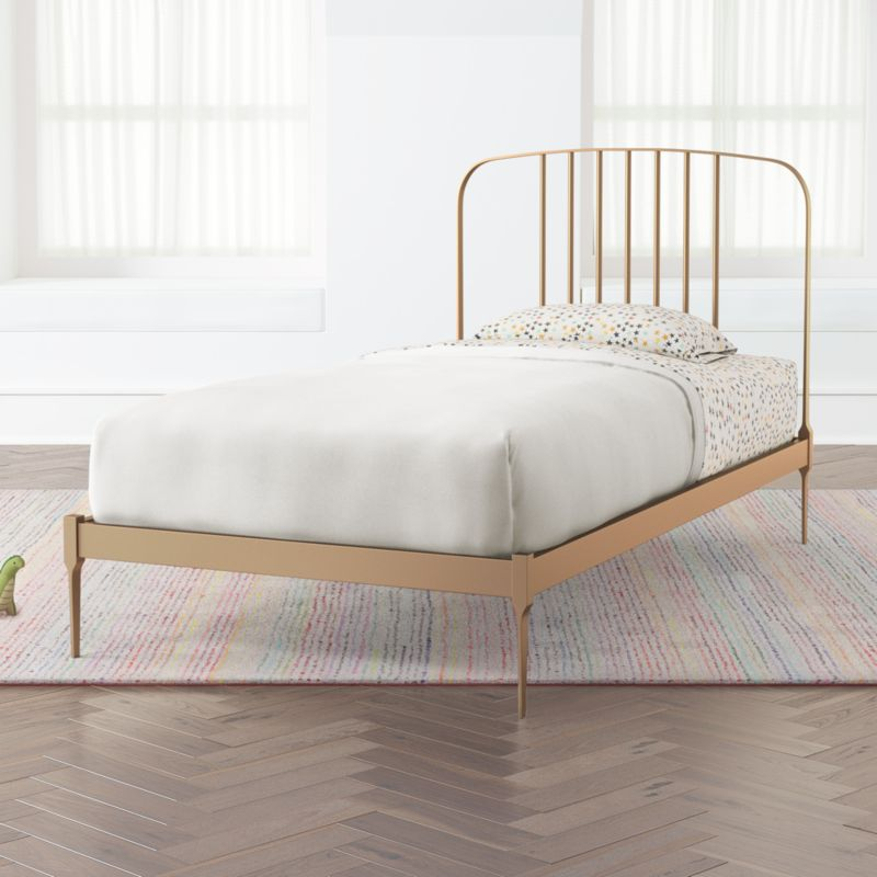 Larkin Twin Gold Bed Frame Reviews Crate And Barrel White
