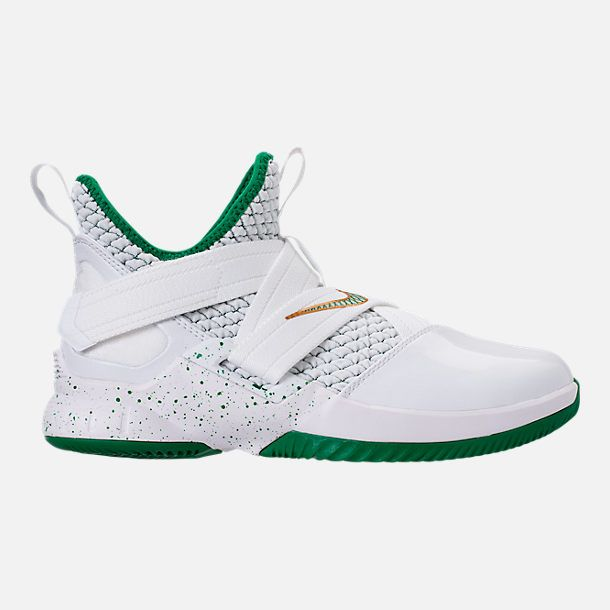0abeb939f8b7 Right view of Boys  Grade School Nike LeBron Soldier 12 Basketball Shoes in  White White Wolf Grey Black