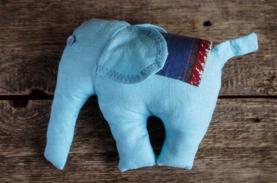 Light Blue Stuffed Elephant Soft Plush Toy Baby Nursery Decor Handmade Plushie Waldorf Toy Line Baby Nursery Decor Waldorf Toys Nursery Decor