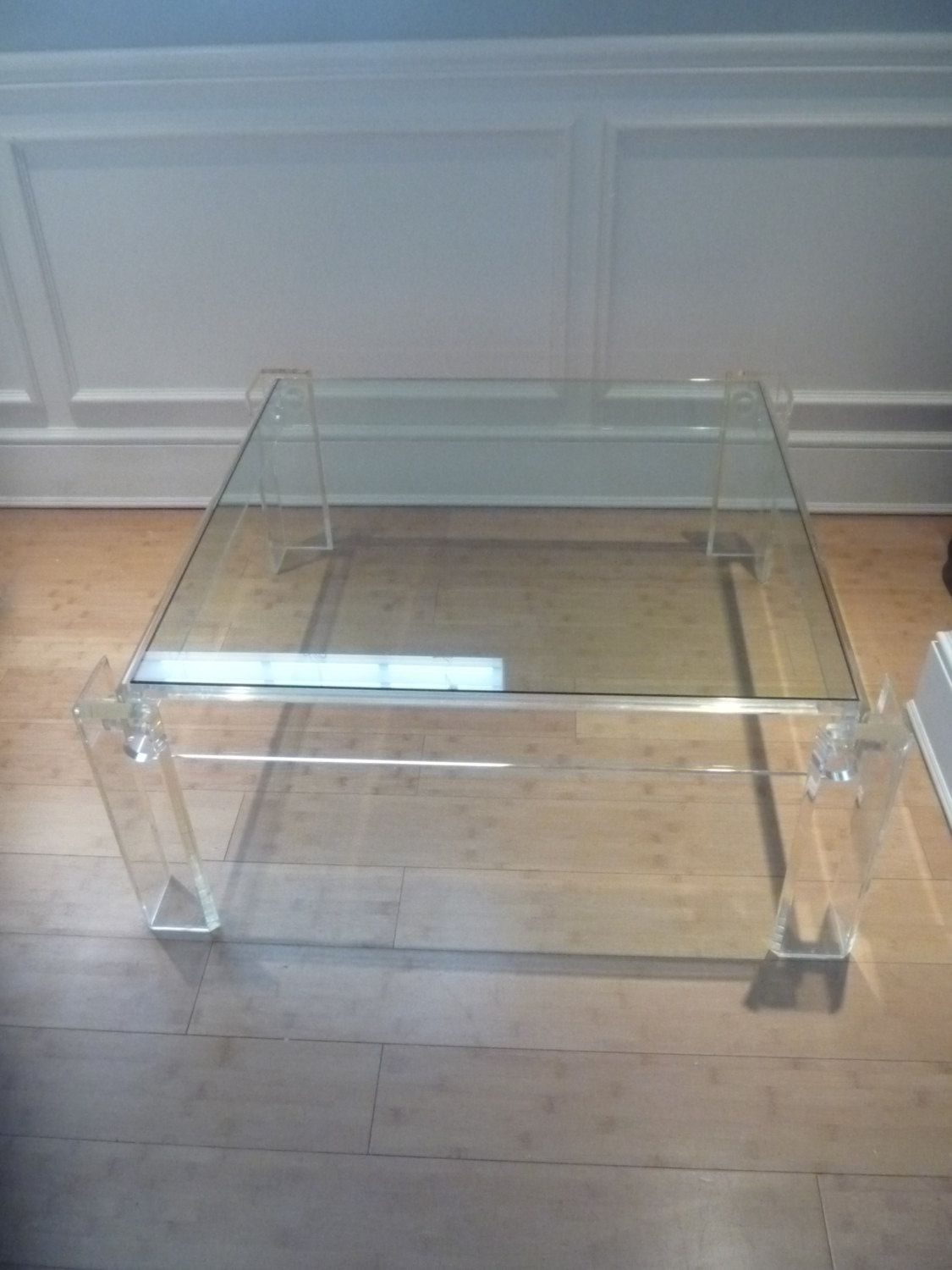 Vintage Lucite Square Coffee Table Hollywood Regency Mid Century